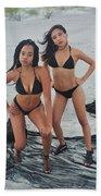 Black Bikinis 4 Beach Towel