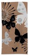 Black Butterflies Beach Towel