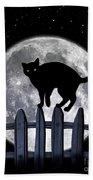 Black Cat And Full Moon 3 Beach Towel