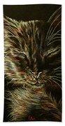 Black Cat Drawing Beach Towel