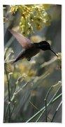 Black Chinned Hummingbird In Flight Beach Sheet
