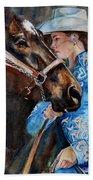 Black Horse And Cowgirl   Beach Towel
