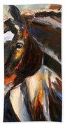 Black Horse Oil Painting Beach Towel