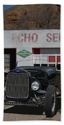 Black Ford Hot Rod Convertible Beach Towel