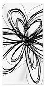 Black Ink Flower 1- Art By Linda Woods Beach Towel
