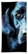 Black Labrador Retriever Dog Art - Hunter Beach Towel by Sharon Cummings