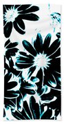 Black Petals With Sprinkles Of Teal Turquoise Beach Towel