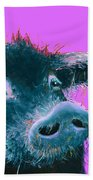 Black Pig Painting On Purple Beach Towel