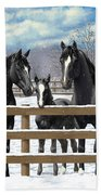 Black Quarter Horses In Snow Beach Towel