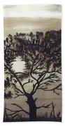 Black Silhouette Tree Beach Sheet