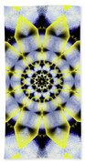 Black, White And Yellow Sunflower Beach Towel