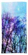 Black Trees Bright Pastel Space Beach Towel