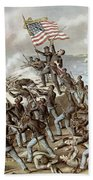 Black Troops Of The Fifty Fourth Massachusetts Regiment During The Assault Of Fort Wagner Beach Towel