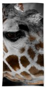 Black  White And Color Giraffe Beach Towel