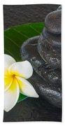 Black Zen Stones Beach Towel