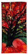 Blazing Red Orange Autumn Tree Beach Towel
