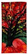 Blazing Red Orange Autumn Tree Beach Sheet