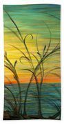 Blazing Sunrise And Grasses In Blue Beach Towel