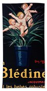Bledine- Baby - Flower Pot - Old Poster - Vintage - Wall Art - Art Print - Porridge  Beach Towel