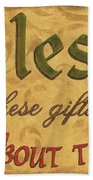 Bless These Gifts Beach Towel by Debbie DeWitt
