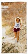 Blond Woman Trail Runner Beach Towel