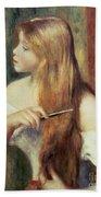 Blonde Girl Combing Her Hair Beach Towel by Pierre Auguste Renoir