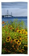 Blooming Flowers By The Bridge At The Straits Of Mackinac Beach Towel