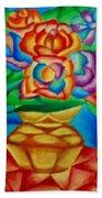 Blooms In Blue Beach Towel