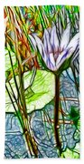 Blossom Lotus Flower In Pond Beach Towel