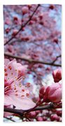 Blossoms Art Blue Sky Spring Tree Blossoms Pink Giclee Baslee Troutman Beach Towel