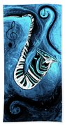 Piano Keys In A Saxophone Blue 2 - Music In Motion Beach Towel