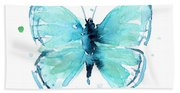 Blue Abstract Butterfly Beach Towel
