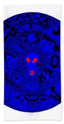 Blue Alien Mandala Beach Towel