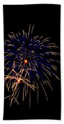 Blue And Gold Fireworks Beach Towel