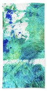Blue And Green Abstract - Imagine - Sharon Cummings Beach Sheet