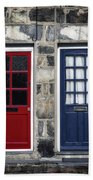 Blue And Red Doors Beach Sheet
