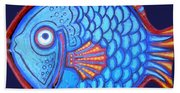 Blue And Red Fish Beach Towel
