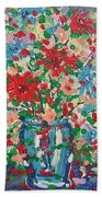 Blue And Red Flowers. Beach Towel
