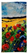 Blue And Red Poppies 45 Beach Towel