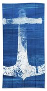 Blue And White Anchor- Art By Linda Woods Beach Towel