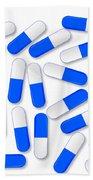 Blue And White Capsules Beach Towel