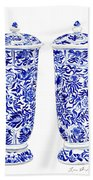 Blue And White Chinoiserie Vases Beach Towel