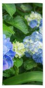 Blue And Yellow Hortensia Flowers Beach Towel