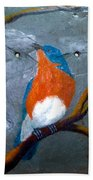 Blue Bird On Slate Beach Towel