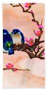 Blue Birds And Plum Blossoms #48 Beach Sheet
