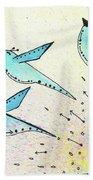 Blue Birds In Flight Beach Towel