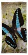 Blue Black Butterfly Dreams Beach Towel