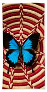 Blue Black Butterfly In Basket Beach Towel
