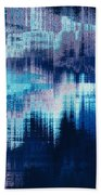 blue blurred abstract background texture with horizontal stripes. glitches, distortion on the screen broadcast digital TV satellite channels Beach Towel
