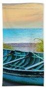 Blue Boat At Dawn Watercolors Painting Beach Towel